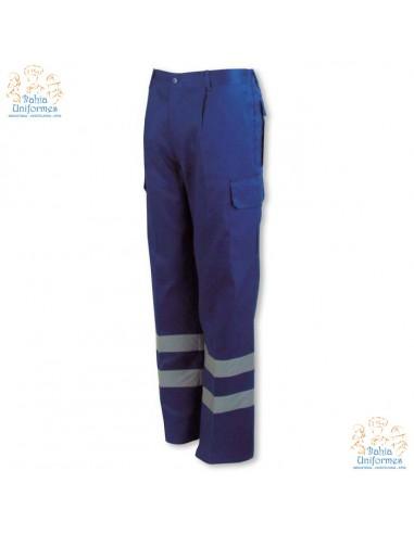 - Pantalón multibolsillos con cintas de alta visibilidad, elástico en la cintura, pespunte trasero de seguridad y seis bolsillo