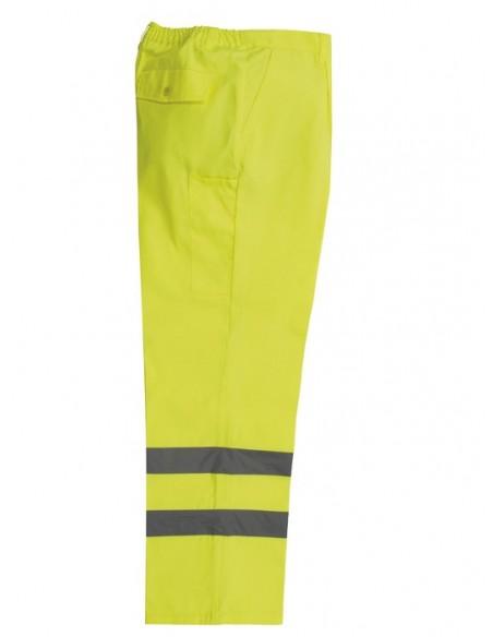 Pantalón de alta visibilidad con dos cintas reflectantes en las piernas. Elástico en la cintura, cuatro bolsillos y pespunte tr