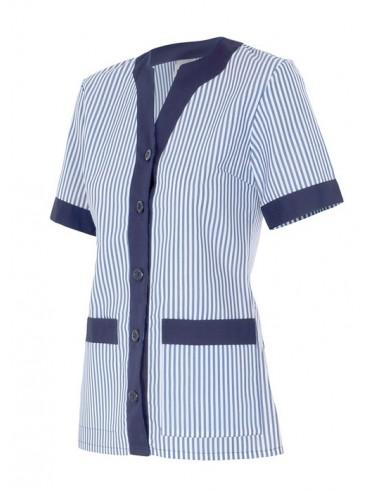 - Chaqueta pijama de mujer con cuello en v, manga corta, con dos bolsillos y abotonada. vivos en el centro de la chaqueta y viv