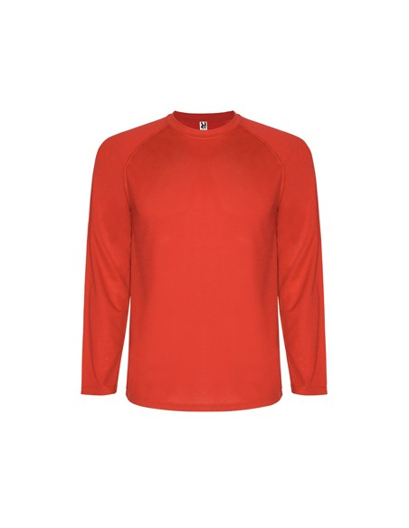 Camiseta técnica de manga larga ranglán.  1.- Remallada al tono en mangas (sin cortes laterales). 2.- Cubrecosturas en cuello
