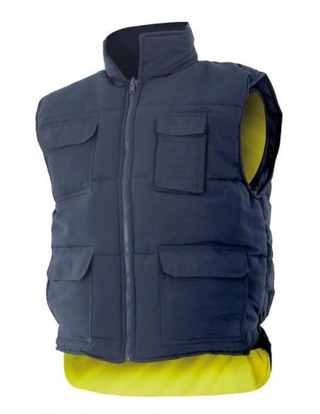 chaleco acolchado reversible de alta visibilidad, dos prendas en una, por un lado, chaleco multibolsillos acolchado y, por el o
