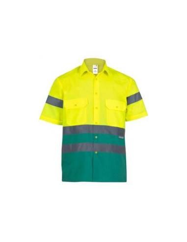 - Camisa bicolor de alta visibilidad de manga corta. cintas reflectantes en torso y mangas, abertura central con botones, cuell