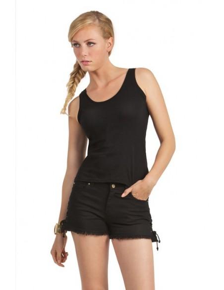 145 g/m² 100% algodón ring-spun pre-encogido Punto simple Camiseta de tirantes Cuello y sisas con ribete fino en canalé Co