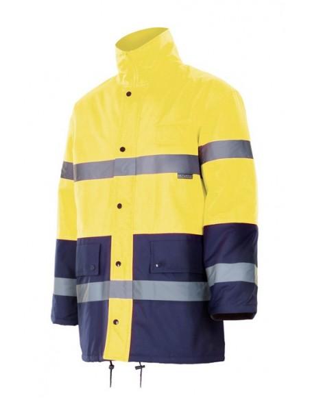 Parka bicolor de alta visibilidad con cintas reflectantes en torso y mangas. Cremallera central oculta con tapeta, botones auto