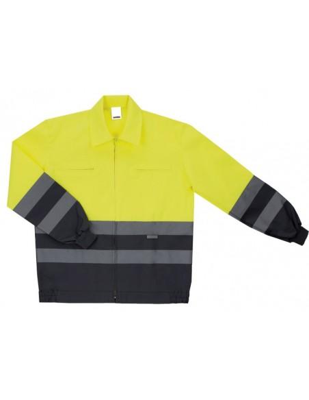 - Cazadora bicolor de alta visibilidad con cremallera central y dos bolsillos en el pecho con cremallera. cintas reflectante en