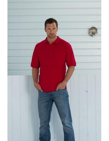 215 g/m² (White: 210 g/m²)  65% poliéster, 35% algodón ring-spun piqué  Cuello encintado en canalé  Costura del hombro re