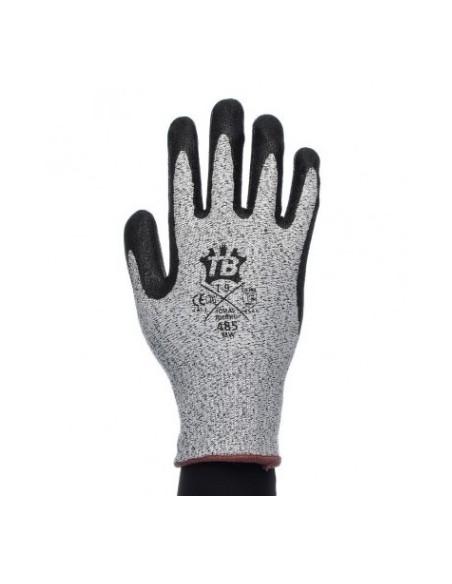 HPPE y fibra de vidrio gris sin costuras.  -Recubrimiento nitrilo foam negro en palma.  -Galga 13.  -Puño elástico.