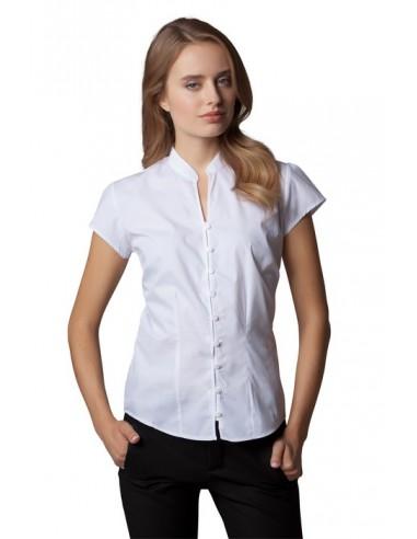 115 g/m²  35% algodón  65% poliéster  Blusa estilo asiático  Cuello mandarín  Mangas muy cortas  Botones del mismo