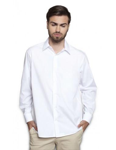 Camisa caballero semi-entallada de manga larga con un tejido popelín de 115 gr/m2. Cuello italiano, un botón en el puño y sin t