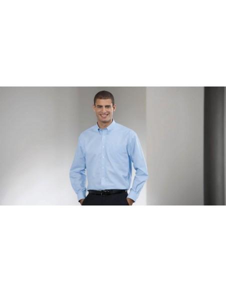 Descripción: 135 g/m2 (White:130 g/m2) 70% Algodón 30% Poliéster Fácil cuidado Camisa Oxford de manga larga Cuello reforz