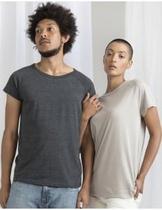 150 g/m²  100% algodón orgánico ring spun y peinado  Charcoal Grey Melange: 60% algodón, 40% poliéster  Single Jersey