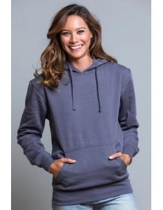 Sudadera de chica con capucha y bolsillo de canguro con cordones de ajuste a tono. Disponible en 17 colores y desde la talla S