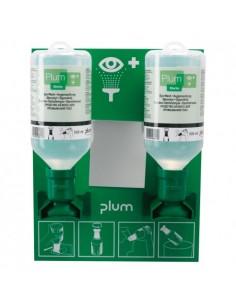 Estación de pared con dos botellas de 0,5 litros de solución salina para lavado ocular rápido de polvo y suciedad. Puede ser fá