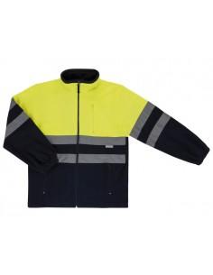 chaqueta polar unisex bicolor de alta visibilidad con cuello alto y cremallera central, tres bolsillos con cremallera. cintas r