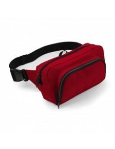 Descripción: 100% Poliéster (600D) Cinturón ajustable Bolsillo trasero con cremallera Bolsillo interior de malla Abertura