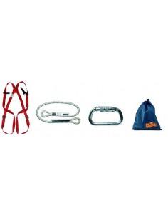 Composición: arnés AK002 EN361 con enganche dorsal. Cuerda AK9423 y 2 mosquetones AK9427. Introducido en una saca