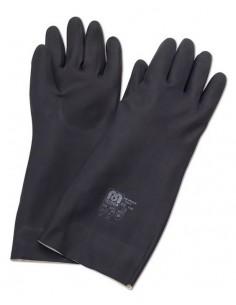 Guante largo de neopreno color negro para riesgos mecánicos, químicos y microorganismos. Aplicaciones: Protección Mecánica y Q