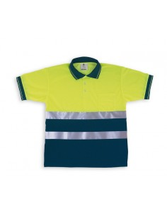 Polo Alta visibilidad. Manga Corta. Color amarillo/azul Tejido Poliéster especial de alta transpirabilidad y absorción de sudo