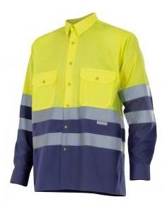 - Camisa bicolor de alta visibilidad de manga larga y puños con cierre de botón. cintas reflectantes en torso y mangas, abertur