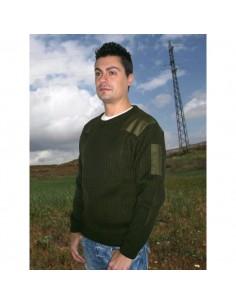 Suéter cuello caja con refuerzos de loneta en hombros y codos 100% acrílico