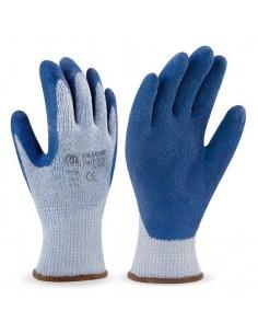 Guante economico de látex con soporte de punto de poliéster/algodón y puño elástico. Aplicaciones Manipulación General. Riesg