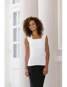 220 g/m2 ( White: 215 g/m2 ) 90% algodón peinado, 10% elastán Top sin mangas y hombro raglán La calidad de la tela asegura u