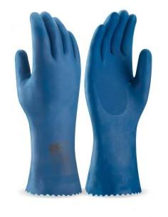 Guante tipo doméstico de látex en color azul para riesgos químicos y microorganismos. Aplicaciones: Protección Mecánica y Prot
