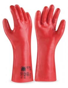Guante largo de PVC estanco de 35 cm. en color rojo para riesgos mecánicos, químicos y microorganismos. Aplicaciones: Protecci