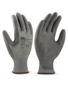 Guante de poliéster color gris con recubrimiento de poliuretano en color gris. Aplicaciones: Manipulación General. Riesgos Mec