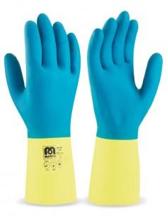 Guante bicolor de látex con refuerzo de neopreno para riesgos mecánicos, químicos y microorganismos. Aplicaciones: Protección