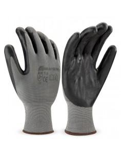 Guante de poliéster color negro con recubrimiento de nitrilo en color negro. Aplicaciones: Manipulación General. Riesgos Mecán