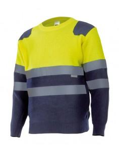 Jersey bicolor de punto de alta visibilidad con cintas reflectantes en torso y mangas. Con puños de canalé y refuerzo de tejido
