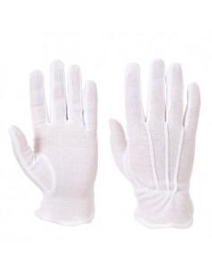 Un guante para uso general, que permite mucha destreza, de tejido de rizo 100% algodón, con tres detalles cosidos sobre el dor
