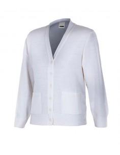 chaqueta de punto fino de mujer de cuello de pico, cierre de botones y tratamiento antipilling.