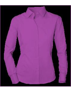 Características Blusa entallada de señora de manga larga con un tejido popelín de 115 gr/m2. Cuello italiano, botón en puño, s