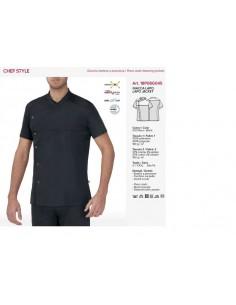 Tejido punto 100% poliester tecnico, detalles en tejido pecho superior en 97%algodón 3%elastan Corte ajustado y muy transpirab