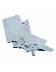 Polaina de cuero al cromo, color gris, para la protección de la parte inferior de la pierna, desde su parte inferior hasta el p