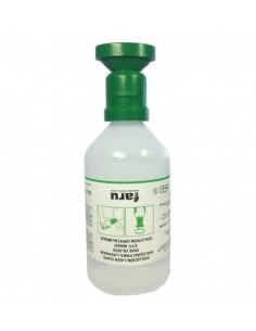 Botella lavaojos con solución salina al 0,9% de 500 ml de capacidad. Muy útil para trabajos que implican desplazamientos o para