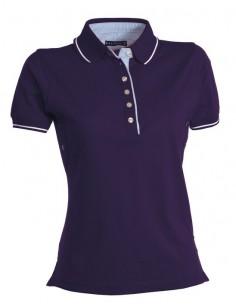 Polo de manga corta para mujer con 6 botones blancos, cuello interior, solapas y aberturas laterales en color Oxford, ribete de