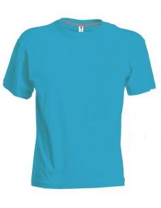 Camiseta de cuello redondo manga corta para hombres, con banda de cuello de mezcla elástica spandex de 1,5 cm con costuras supe