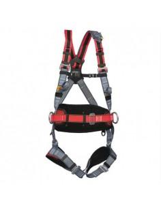 Arnés de confort con enganche dorsal, external y cinta de extensión. Hombreras de material elástico especial. Ajuste pectoral.