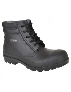La bota de PVC, S5, con cordones es ligera y totalmente impermeable. Sus interesantes detalles incluyen la suela resistente a